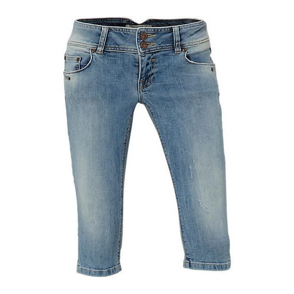 LTB Georget Cycle capri jeans ❤ liked on Polyvore featuring jeans, capris, shorts, distressed capri jeans, blue capri, destroyed jeans, distressed jeans and destructed jeans