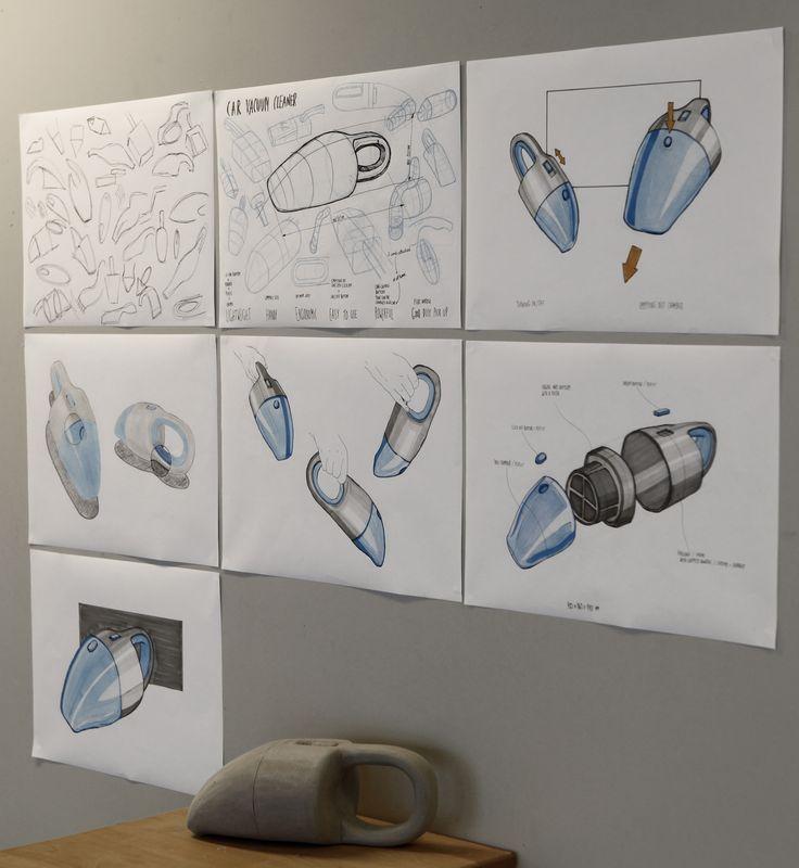 Joanna Statucka (School of Form) car vacuum cleaner sketches and a foam model