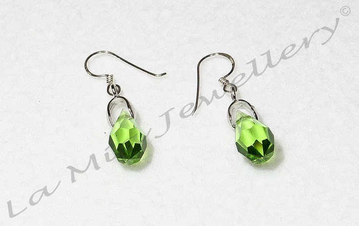 Swarovski Crystal Drops in Green - Sterling Silver Hooks