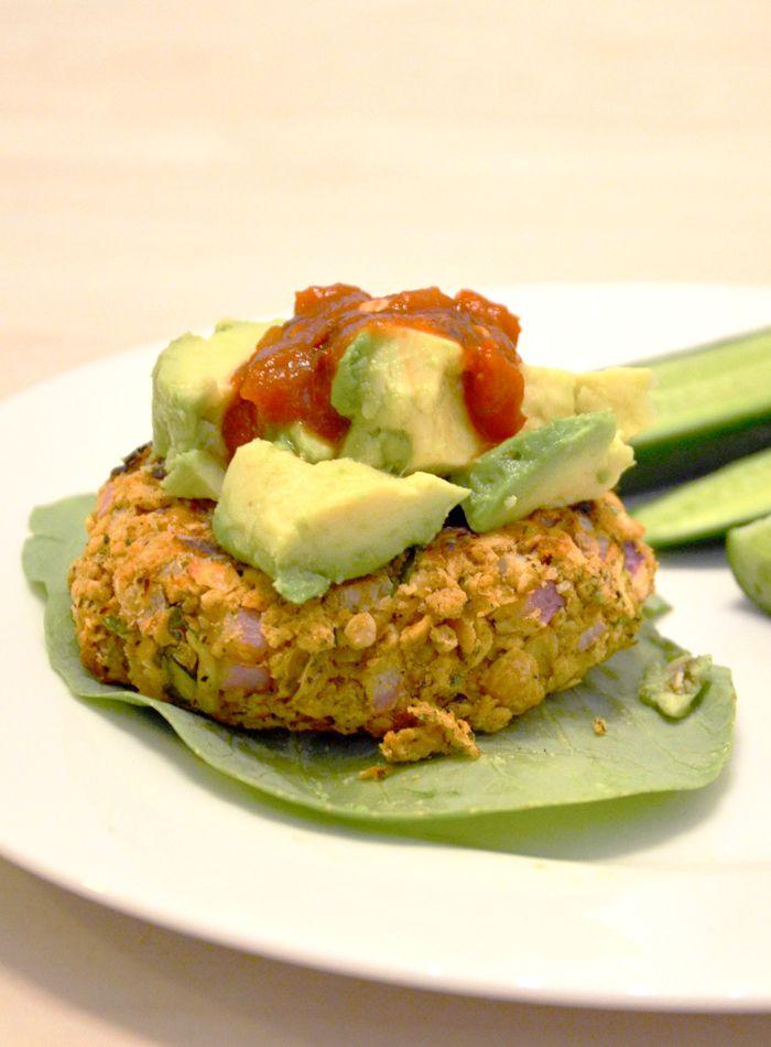 Spicy Chickpea Veggie Burger - Vegan, Gluten-Free