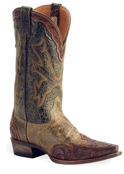 Stetson Mens Cowboy Boots Brown Leather Tall Wingtip Western Snip Toe 0720 | eBay