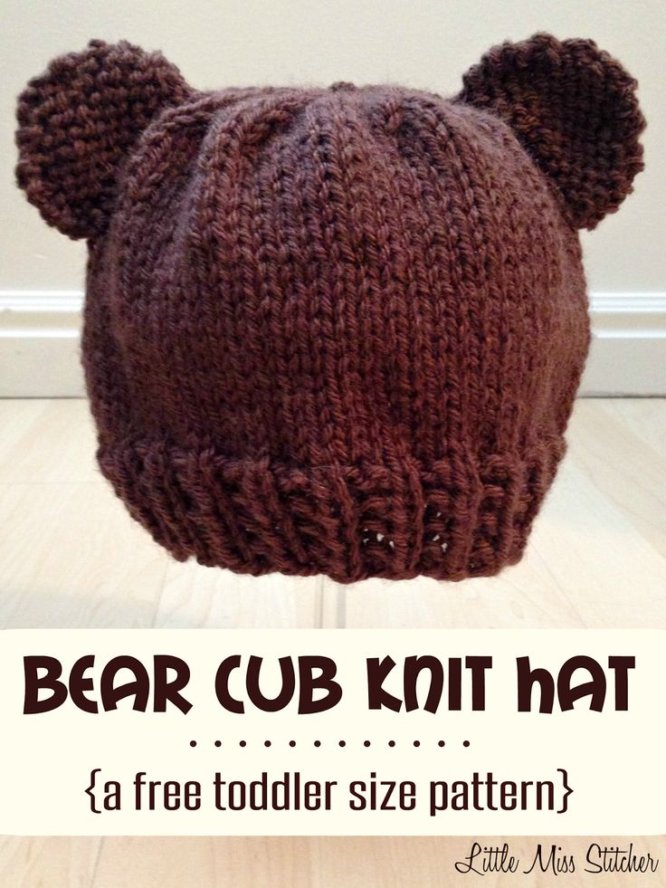 Bear Cub Knit Hat Pattern For Toddlers - thinking I could do this in black and turn it into Mickey Mouse ears!