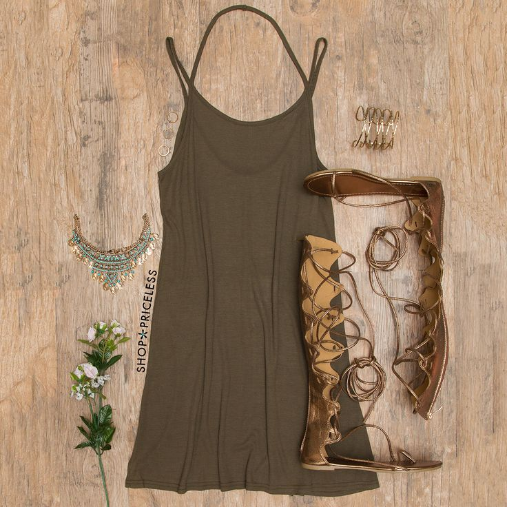 - Details - Size Guide - Model Stats - Contact Live on in this olive Liv Basic Dress! Features a lightweight, knit fabric with stretch. Scoop neck front and V-neck back. Spaghetti and halter straps. L