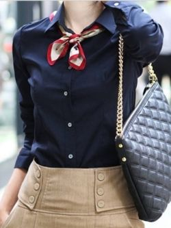 Smart navy shirt, cute scarf and well-fitted skirt