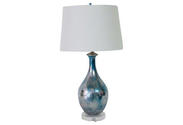 Mercury Glazed Blue Glass Lamp