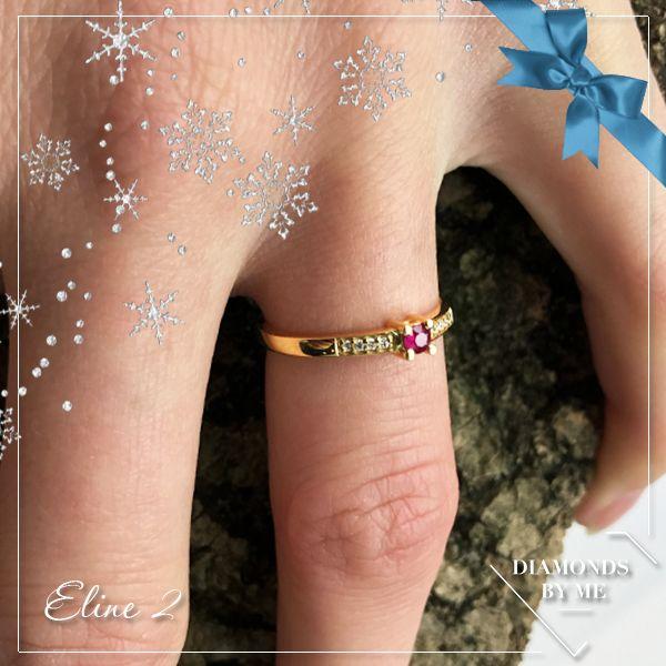 Eline 2 in 14 karaat goud, diamanten en robijn. Maak jouw eigen combinatie op www.diamondsbyme.nl #ring #gold #ruby #diamonds #owndesign #gift #diamondbyme