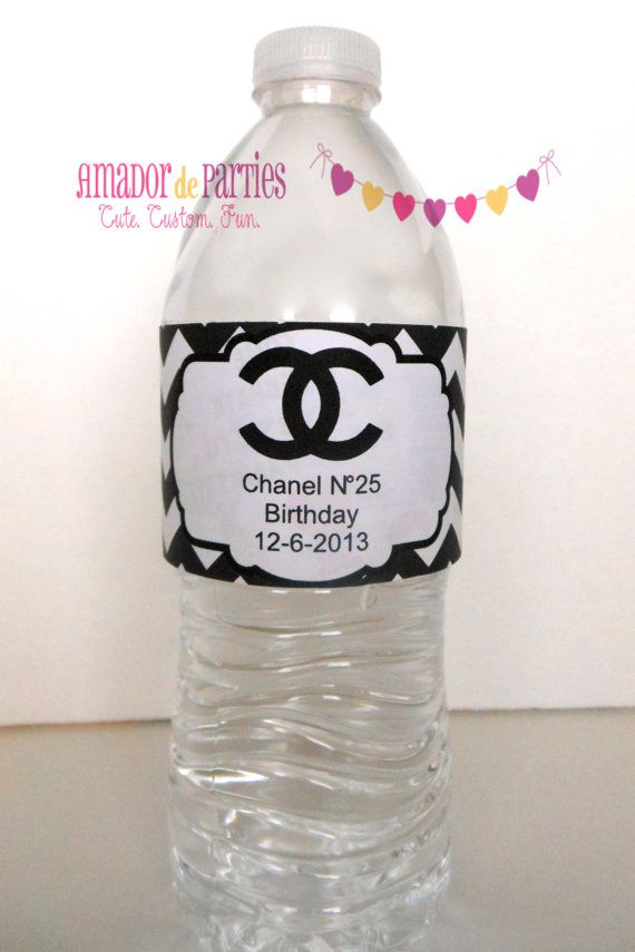 Chanel Water Bottle Labels by AmadordeParties on Etsy, $20 ...