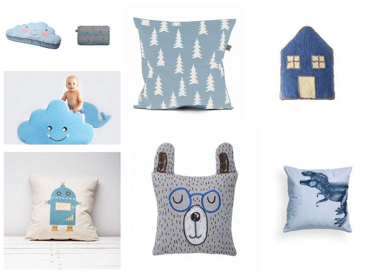 Dekoracyjne poduszki dla dzieci w odcieniach BLUE. Więcej na konceptdziecko.com