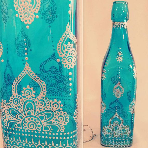 Hand painted, blue tinted glass bottle/ decoration piece - henna inspired design in silver * Includes re-sealable clasp cap (keeps water