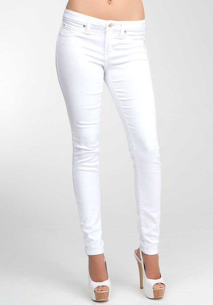 Bebe Logo Super Stretch Skinny Jean - Optic White - 27