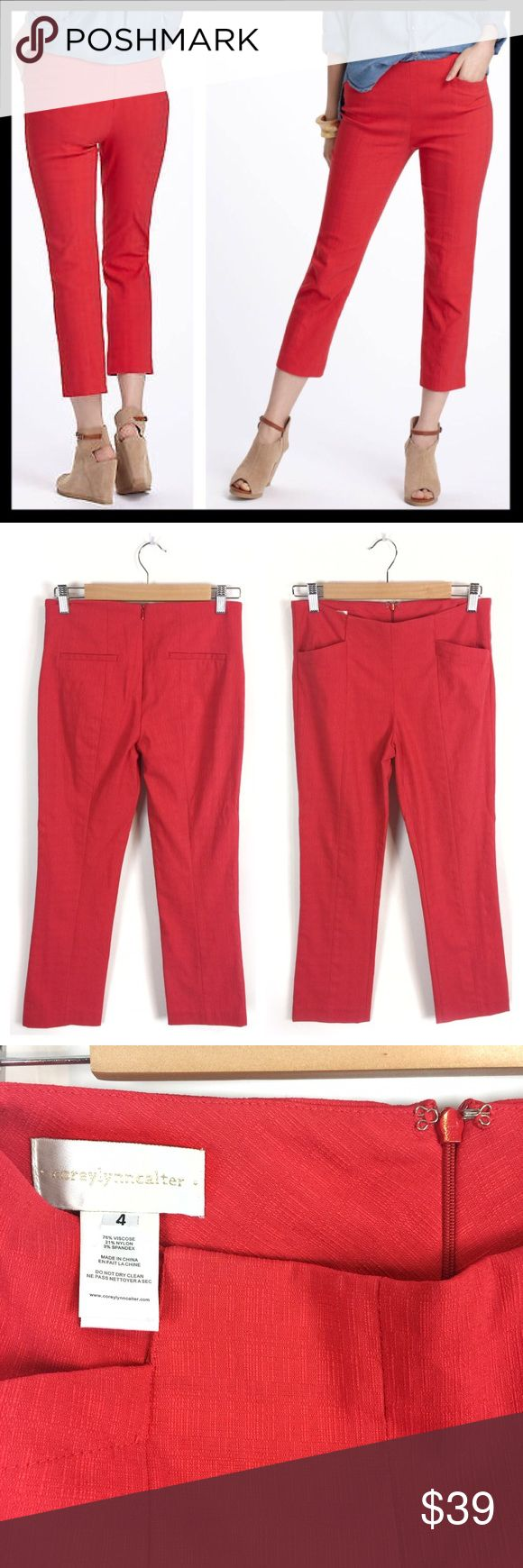 "anthropologie // corey lynn calter nella trousers A feminine take on archetypal men's tailoring, with a shorter length and a bit of stretch. By Corey Lynn Calter. Back zip. Front and back pockets. Viscose/nylon/spandex. Machine wash. 24.75"" inseam. Color is a cheerful coral red. Excellent condition. Anthropologie Pants"