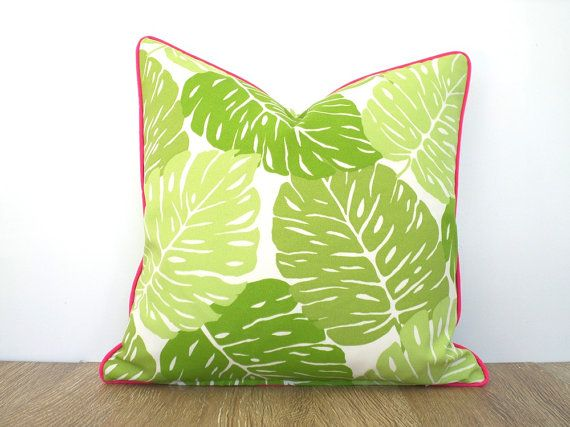 Green leaf outdoor pillow case tropical cushion for by anitascasa