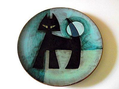 Vintage Danish Art Pottery Plate, Black Cat, Turquoise Blue, Retro Ceramic, 1950s