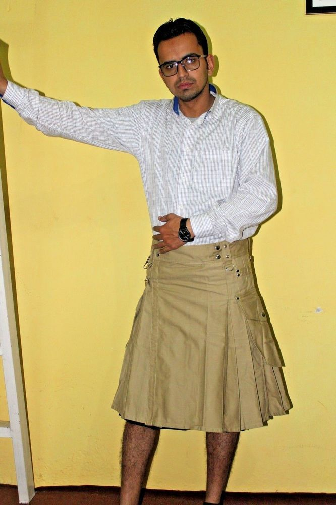 KHAKI CARGO UTILITY KILT IN MODREN STYLE BUY ON CHEAP PRICE #Handmade #KiltSkirt