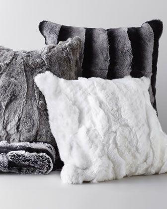 Fur Throw & Pillows by Adrienne Landau at Horchow.