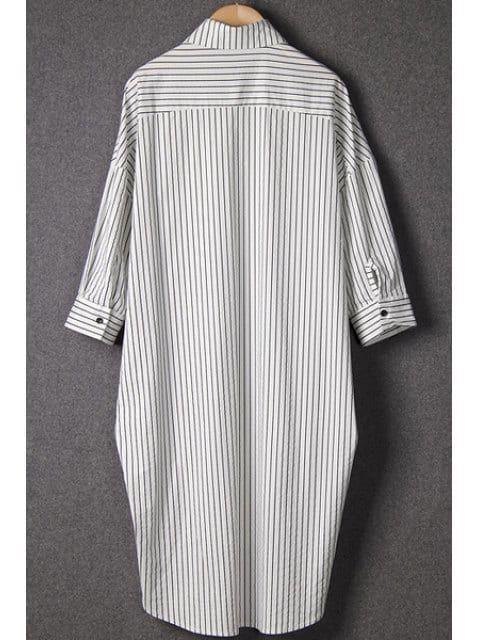 Stripe Asymmetrical Half Sleeve Shirt - WHITE ONE SIZE(FIT SIZE XS TO M)