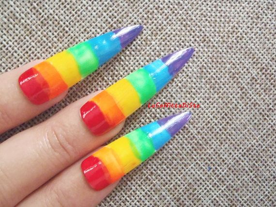 rainbow long false nails gay pride lgbt fake drag queen
