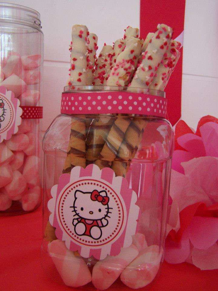 Dipped cookies at a Hello Kitty birthday party! See more party ideas at CatchMyParty.com!