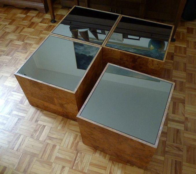 Cube Coffee Table Set In Burl Wood Glass From The Sixties 1960s On Kijiji Montreal