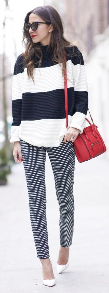 Pop Of Red Mix Prints Bw Outfit
