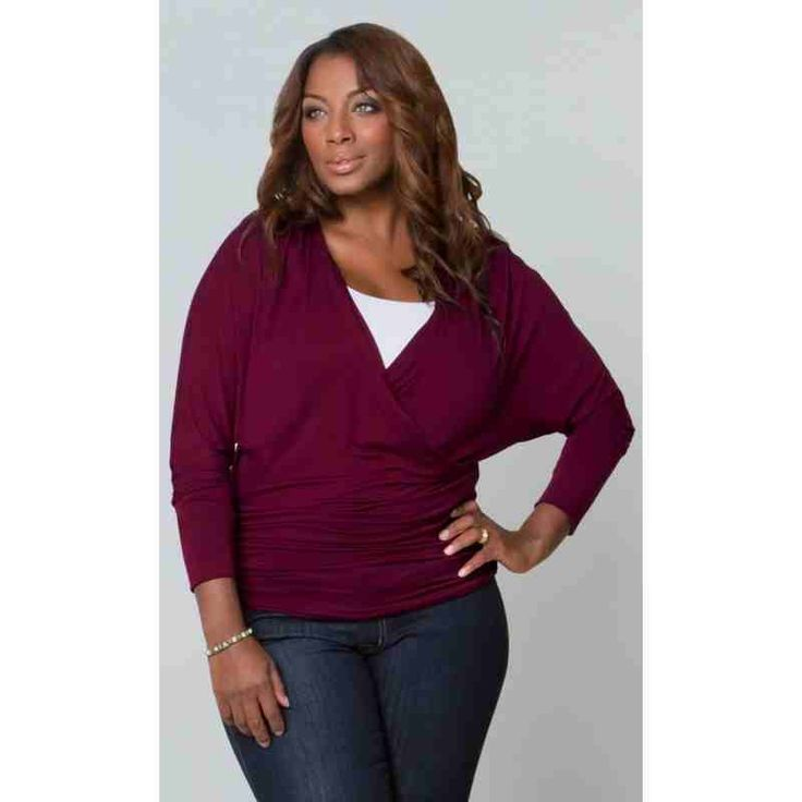PRE-ORDER - Femme Faux Wrap Top (Raspberry Wine) $82.00 http://www.curvyclothing.com.au/index.php?route=product/product&path=95_103&product_id=8241