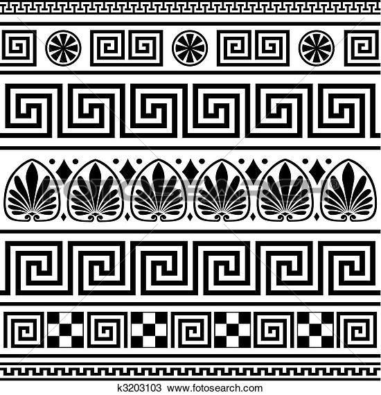 Clipart - set, van, vector, griekse, randjes k3203103 - Zoek Clipart, Illustratie fresno's, Tekeningen en Vector EPS Grafieken - k3203103.eps