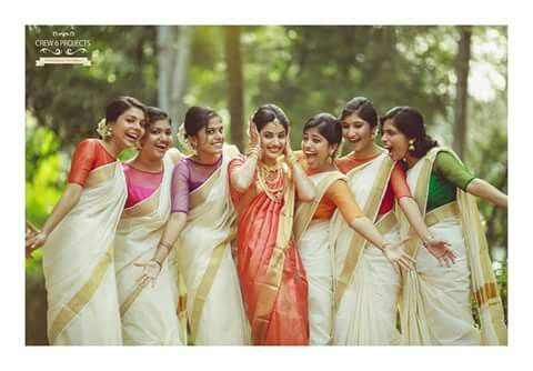 Onam saree,  bridesmaid,  contrast colour blouses