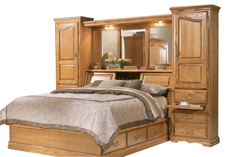 FT-605 and FT-611-Q-M - Master-pieceOak Bedroom Pier Wall with Platform Bed - QueenSize Items included in this set: FT-605- Master-pieceOak Bedroom Pier Wal