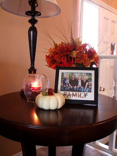 How To Decorate End Tables | fall centerpiece for the coffee table is created from three cylinder ...