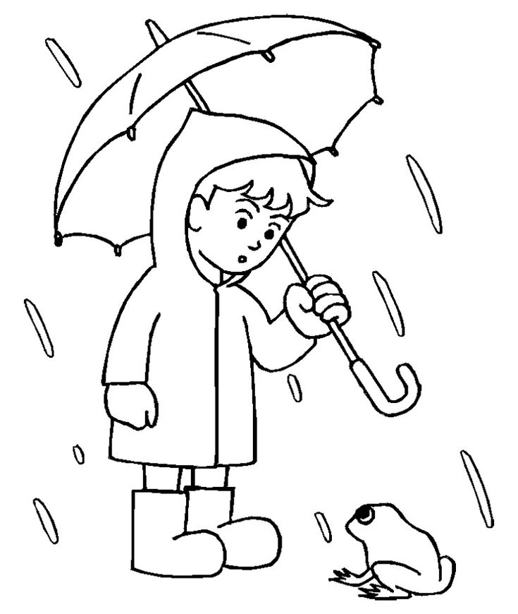 Boy With His Umbrella And Rain Jacket Under The Spring