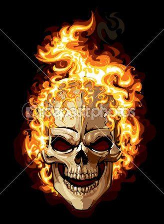 Значок золотой череп. огонь орнамент татуировки — стоковая иллюстрация #20183889