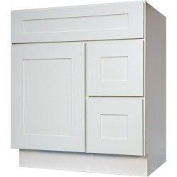 "30 Inch Bathroom Vanity Single Sink Cabinet in Shaker White with Soft Close Drawers & Door 30"" (Doors Left)"
