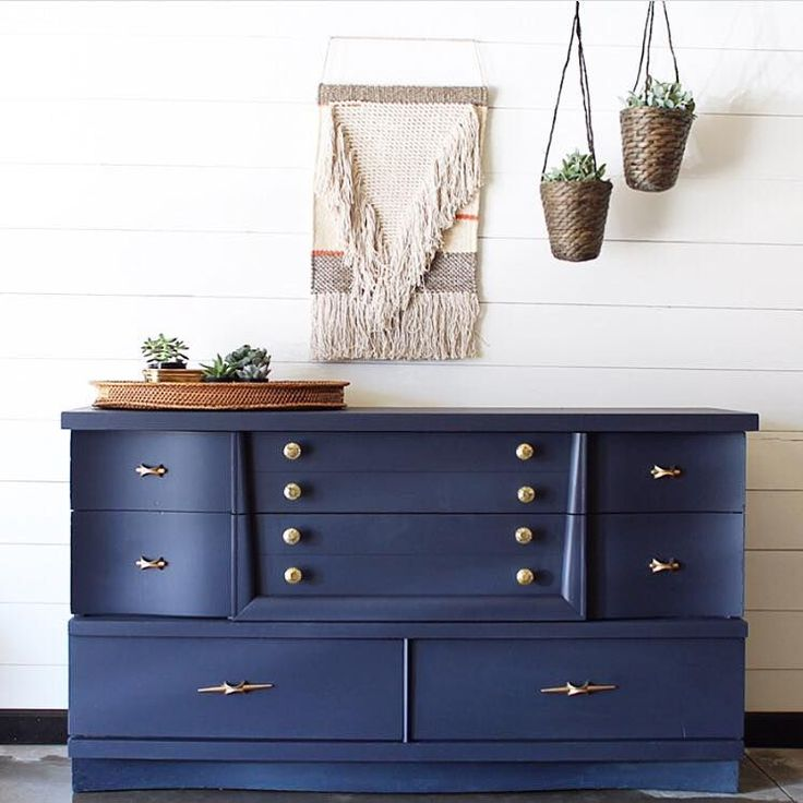 Stellar MCM dresser in GF Coastal Blue Milk Paint by Finn & Bo!