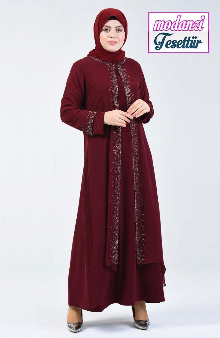 Sefamerve Buyuk Beden Abiye 2020 Buyuk Beden Tasli Abiye Elbise 0003 02 Bordo 2020 Elbise Moda Stilleri Elbise Modelleri