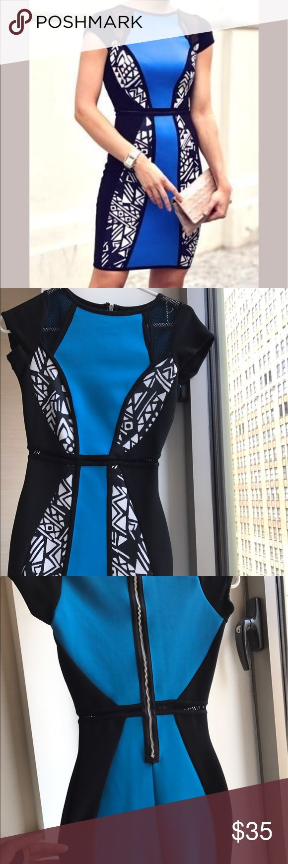 "River Island Bodycon Aztec Print Cobalt blue and black River Island body con mini dress. Size 6 but would fit a size 4. I'm 5'7"" and this would work for shorter girls. Very form flattering with breathable mesh inserts for eye catching detail. Exposed silver back zipper. Smoke and pet free home. River Island Dresses Mini"