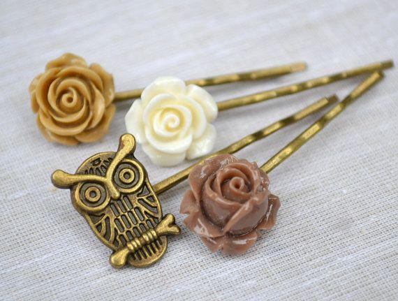 Resin flower bobby pin Brown ivory coffee owl by artemisartdesign, $16.00