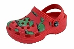 Little Laces, Cute red dinosaur clog for boys and girls.Introducing to you our friendly dinosaurs! This lightweight kids clog is happy, fun, durable and super comfortable too. The back strap moves forward to use as a slip on or can stay back for a more secure fit. Your little boy or girl will love showing off their happy dino friends.