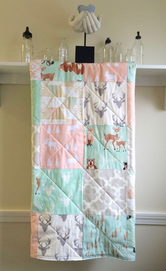 Baby Quilt - Oh Hello Coral and Mint - Modern, Pastel, Woodland, Deer, Owl, Antlers, Neutral, Gray, Coral. Mint, Nursery Bedding, Crib Quilt