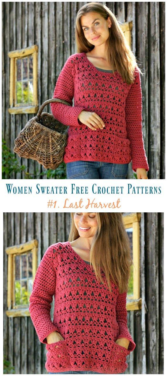 Last Harvest Fan Lace Sweater Crochet Free Pattern Women Sweater
