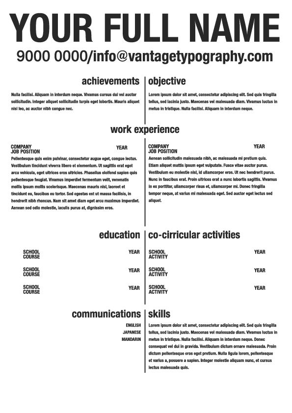 """Resume template #07. """"Separate it vertically, display it side-by-side."""" #resume #resumeideas #resumetemplate #resumedesign #resumewriting #vantagetypography #personalbranding"""