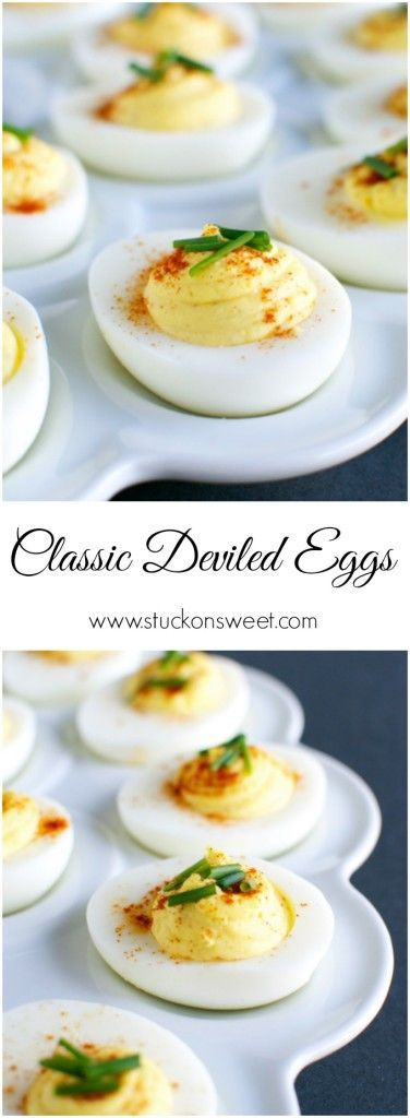 Classic Deviled Eggs Recipe. These are perfect for your Easter menu or any party during the year! | www.stuckonsweet.com