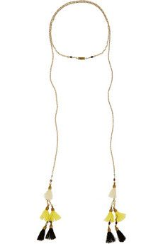 Isabel Marant Gold-plated, howlite and tassel wrap necklace  | NET-A-PORTER