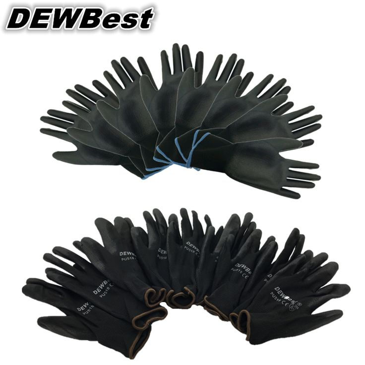 Free Shipping12 Pair PU Work Gloves Safety Grip leather working gloves Light weight Grey SPANDEX Protection Gloves