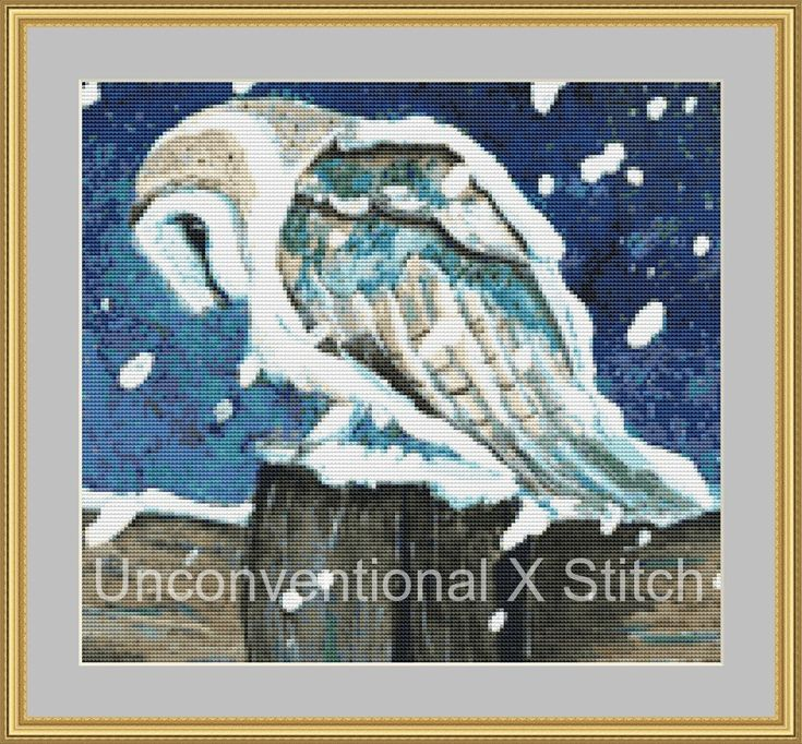 Snowy Owl in Snow cross stitch pattern - Extract -  Licensed Karita Smevag Halten by UnconventionalX on Etsy