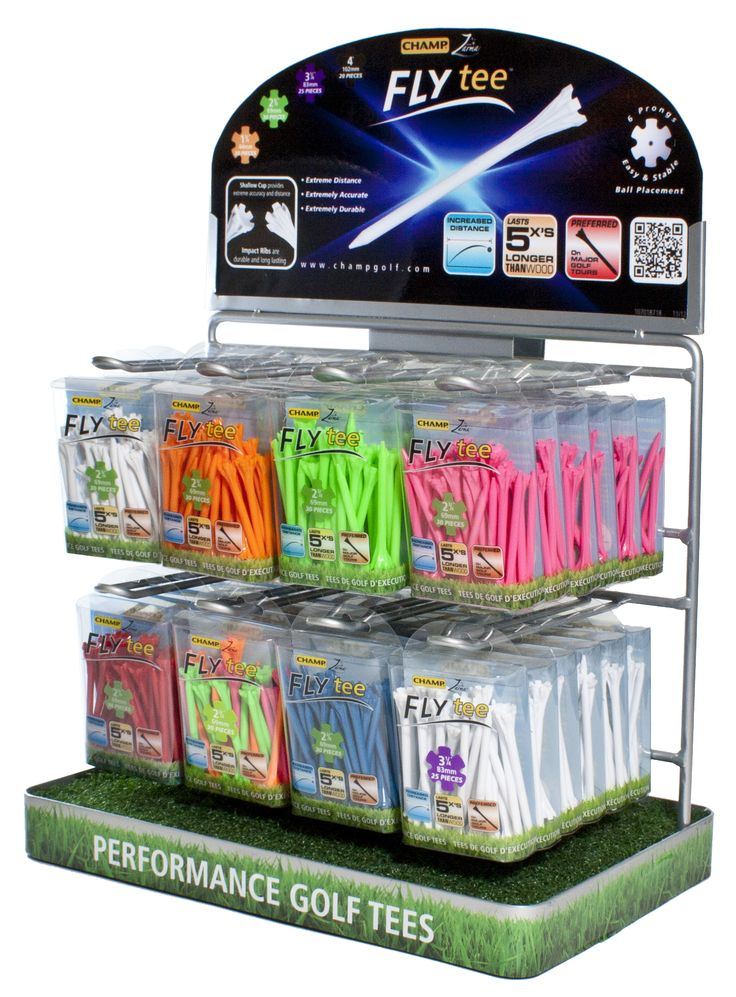 T8 CHAMP Zarma FLYtee Countertop Display (7064CH59-S01) This small and sleek countertop display is perfect for showcasing the CHAMP Zarma FLYtees on valuable counter space. With the FLYtee available in a rainbow of vibrant colors and 4 different sizes this wire rack unit features 8 wire pegs each perfect to merchandise your tees in high traffic areas while minimizing space in any retail point of purchase environment.