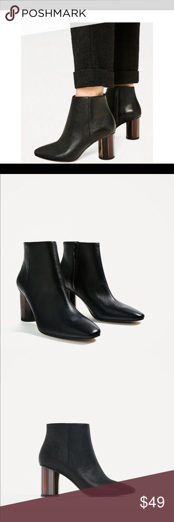 Zara leather ankle boots with metallic Heel Must have black leather ankle boots.   New in box ‼️ its listed on the official website as 6.5, but equivalent to 37🤗 Zara Shoes Ankle Boots & Booties
