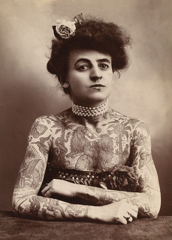 A heavily tattooed woman, from 1907.  | Los Angeles, Cal. : The Plaza Gallery.