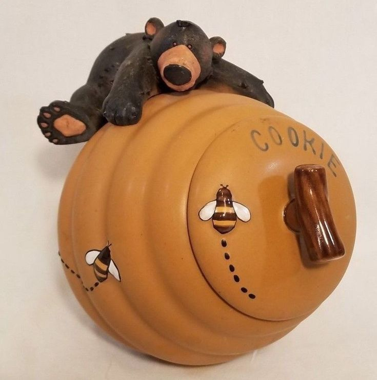 Black Bear Honeypot Beehive Cookie Jar by Honour Pottery with Gasket Lid