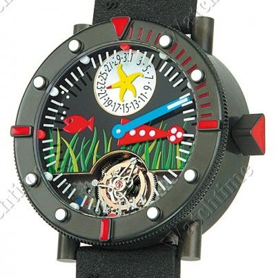 Alain Silberstein   Tourbillon Marine Black Sea   Titanium   Watch database watchtime.com