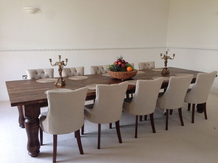 12ft x 4ft banquet dining table 10x scoop arm chairs